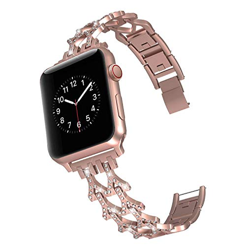 DEKER Bling Bands Compatible for Apple Watch Band Series 4 40mm, iWatch Series 3 2 1 38mm Women Men Cuff Bracelet Replacement Stainless Steel Metal Strap Wristbands (Series 3&4 Gold-38mm/40mm)