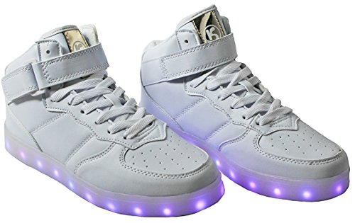 Women High/Low Top PU Leather LED Light Fashion Flashing USB Rechargeable Sneaker Shoes White_4001 ty7RR5tc