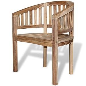 vidaXL 2 Teak Banana Halfmoon Chairs Seat Wooden Garden Furniture Outdoor Indoor