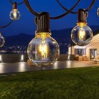 Qxmcov Lichtsnoer voor buiten, 9,5 meter, 25 lampen met 4 reservelampen, warmwit, waterdicht, G40-lichtketting…