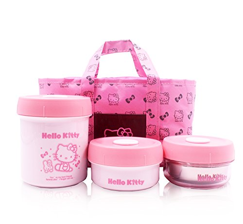 Finex Hello Kitty Small Portable Lunch Sets – Pink Reusable Insulated Lunch Bag and Thermal Lunch Jars Set Stainless…