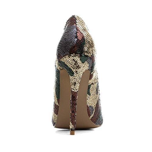 Mujeres Estilete Alto Talones Zapatos rojo Lentejuelas Cerrado Puntiagudo Dedo del pie Zapatillas Trabajo Inteligente Vestir tamaño 35-43 Coffee