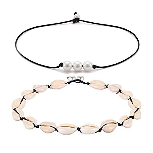 (Hundred River Pearl Choker Necklace Single Leather for Women  (2pack 3))