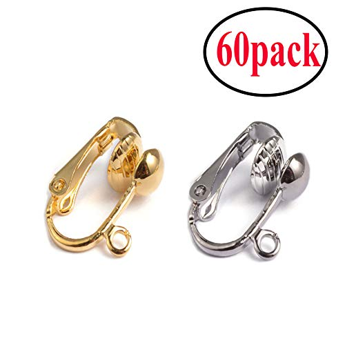 60Pack Clip-on Earring Converter with Easy Open Loop for DIY Earring and Turn Any Studs Or Pierced into Clip on (Gold and Silver)
