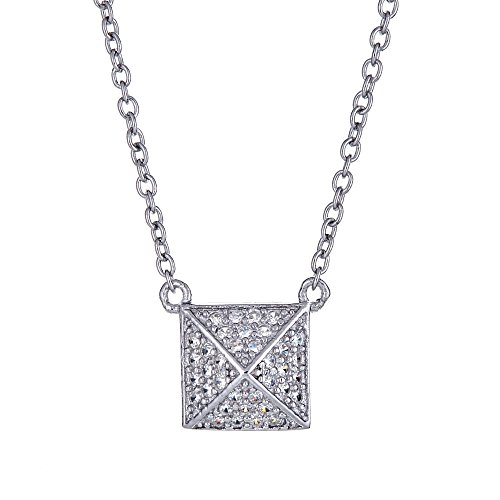 Joy and Rachel Platinum Plated 925 Sterling Silver Round Cubic Zirconia Pave Square Diagonal Pendant Necklace, Adjustable Length 16,17,18
