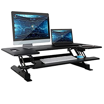 HomGarden Height Adjustable Standing Desk Sit to Stand Tabletop Workstation fits Dual Monitor