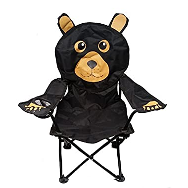 Kids' Black Bear Folding Camp Chair with Cup Holder and Carry Bag