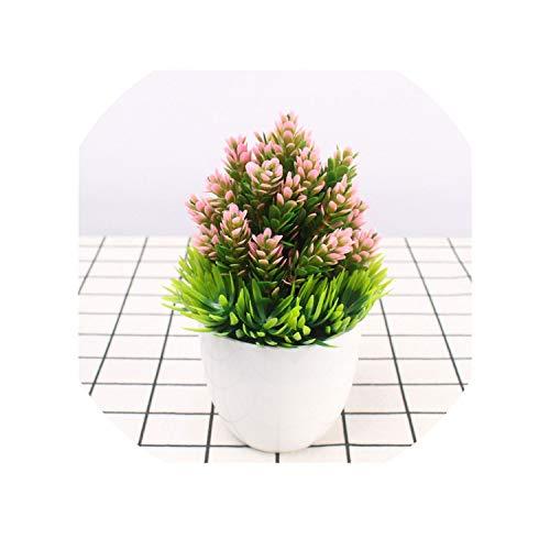 - 7 Colors Artificial Pine Needles Flowers Mini Plant Bosai Plastic Decoration Plant vase for Home Office Decor Flower Set 1pc,Pink