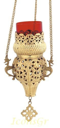 Gold Plated Orthodox Greek Christian Bronze Hanging Votive Vigil Oil Lamp with Chain and Red Glass N- 9395g by Iconsgr