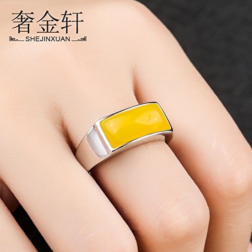 s925 Sterling Silver Men's Rings mountings Ring Care DIY Beeswax Amber Mosaic Square Turquoise Ring tuoming Star Glossy Men Women Dress up (Stone bit 7 15mm ()