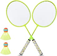 Badminton Racket Set, 2 Player Badminton Rackets with 2 Balls for Indoor Outdoor Garden Beach Sports