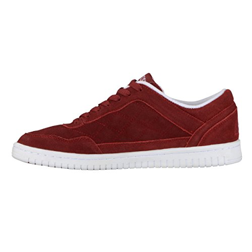 British Knights Quilts Men's Quilted Suede Oxford Sneaker Burgundy/White free shipping 100% guaranteed haz95Vy42V