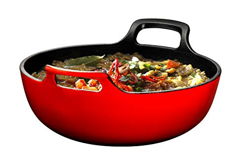 Enameled Cast Iron Balti Dish With Wide Loop Handles, 3 Quart, Fire Red