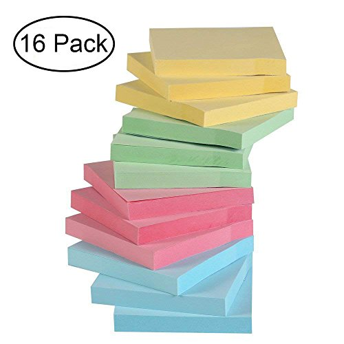 Sticky Notes,16 Pads Self-Stick Notes with 4 Candy Colors, 100 Sheets/Pad, 3 X 3 inches, Easy to Post for Home, Office by YAENOEI