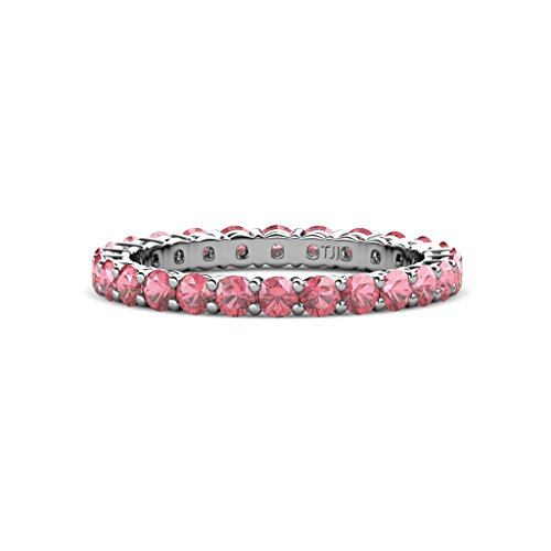 Tourmaline Pink Gallery - TriJewels Pink Tourmaline 2.7mm Shared Prong Gallery Eternity Band 1.27-1.49 ctw 14K White Gold.size 6.75