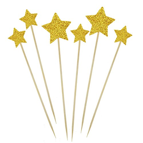 [A Little Lemon Gold Star Cake Cupcake Decorations Toppers Picks Supplies, Appetizer Picks, 30 Counting] (Cute Halloween Appetizers)