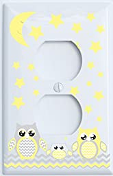 Grey and Yellow Owl Outlet Cover / Owl Nursery Decor (Outlet Cover)
