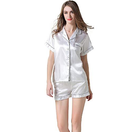 - NANJUN Women's Satin Pajamas Sleepwear Short Button-Down Pj Set(White,l4)
