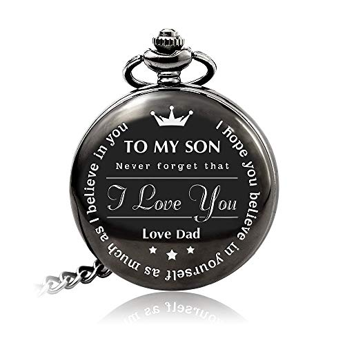 Bijours Black Vintage Quartz Roman Numerals Necklace Pocket Watch Gift,to My Son, Never Forget That I Love You, Love Dad, Suitable for Son's Birthday, Wedding and Important Day Best Gift for Son