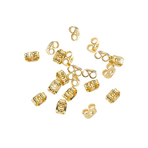 Earring Scroll Back Gold Plated Butterfly Stoppers 4mm Beads Jar