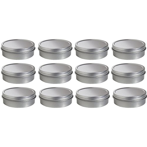 Sealed Metal (2 oz Metal Steel Tin Flat Container with Tight Sealed Twist Screwtop Cover (12 pack)+)