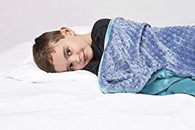 "6 lb Children's (for 50lb individual) 30""x40"" Green / Blue or Teal / Blue Weighted Blanket with Dotted Minky Cover. Fall Asleep Faster Perfect for kids with Anxiety OCD Stress ADHD Autism"