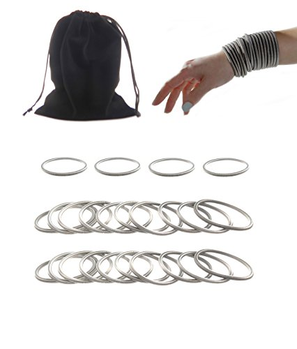 Frogsac Set of 24 Stainless Steel Guitar String Look Spiral Stretchy Bracelets - 4.5 (Party Store Waltham Ma)