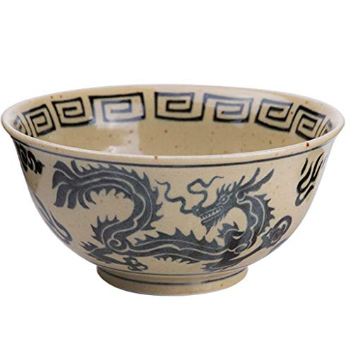 Ramen bowl Dragon and Phoenix Bowl Round ceramic lid rice bowl Rice bowl Japanese restaurant tableware bowl Bowl Sets (Color : Brown, Size : - Dragon Bowl Phoenix