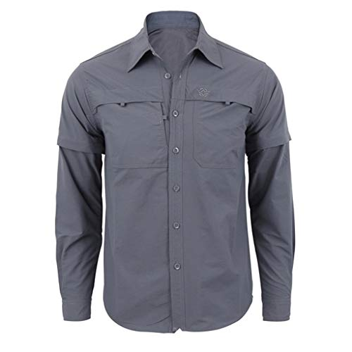 iLXHD Men's Button Down Shirt Fashion Quick-Drying Casual Military Pure Color Long Sleeve T-Shirt Tops Gray