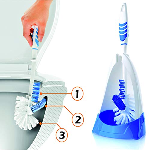 SOFTON Toilet Brush, 3 Functioned Toilet Bowl Brush and Holder - Now Very Easy Under the Rim Cleaning. Strong Bristles, Good Grips. 2019 New Version