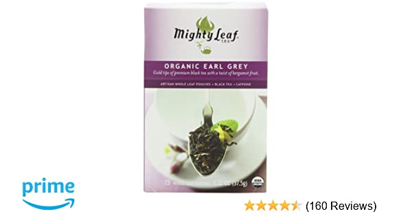 Mighty Leaf Black Tea, Organic Earl Grey, 15 Pouches (Pack of 3) Package May Vary