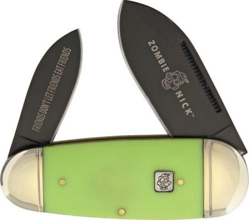 Rough Rider RR1455 Zombie Nick Toenail Folding Knife 4'', Folder Green Handle for Camping Hiking Hunting Survival Self Defence and practical use + EBOOK