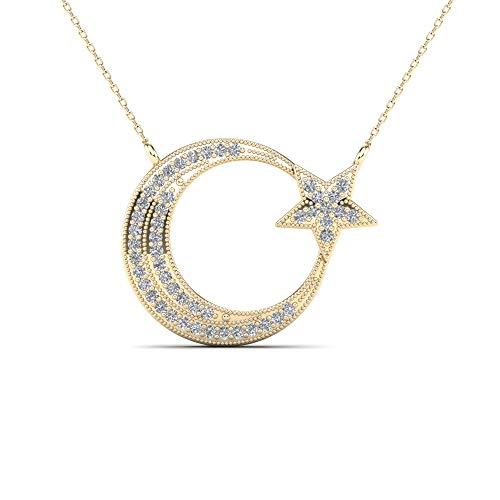 JewelAngel 10k Yellow Gold 1/8ct TDW Diamond Moon and Star Pendant Necklace (H-I, I1-I2) ()
