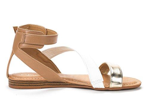 Paia Di Sogni Donna Open Toe Fibbia Moda Incrociato Valcre Cinturini Alla Caviglia Sandali Piatti Design Estivo Nora-oro Bianco Nudo