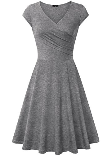 Informal Bridesmaid Dresses (Laksmi Cocktail Dresses, Women's V Neck Urban Homecoming Informal Casual Dress,X-Large Dark Grey)