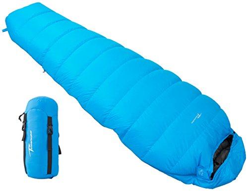 Timberbrother 700 Filling Goose Down Mummy Sleeping Bag 32 Degrees Fahrenheit Ultralight for Hiking, Camping, Trekking (Blue - Regular, 30℉-40℉ (Fahrenheit Mummy)