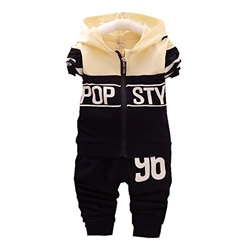 FTSUCQ Boys/Girls Zip Front Hoodies Sweatershirts Top with Pants, Tracksuits Sets,Black 110