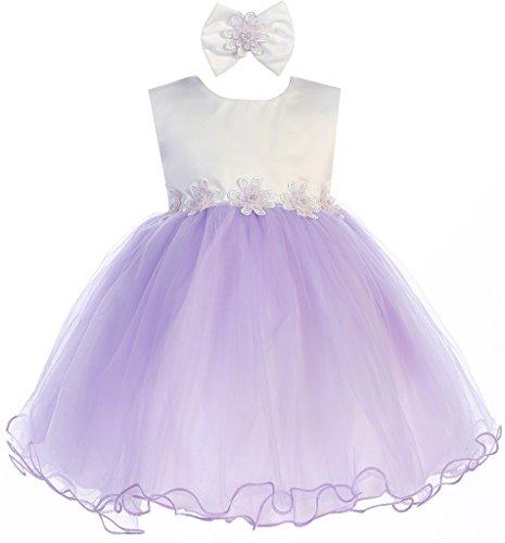 BNY Corner Contrast Two-Tone Baby Flower Dress Lavender XXL JK 2689