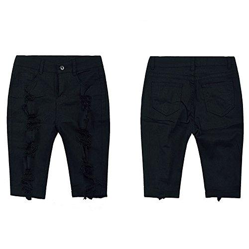 iLUGU Women Casual Denim Destroyed Bermuda Shorts Jeans Bk/M