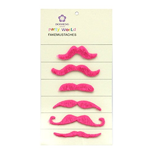 [Fake Beard and Mustache Halloween Costume Accessory,Set of 6 (pink)] (Fake Beards That Look Real)