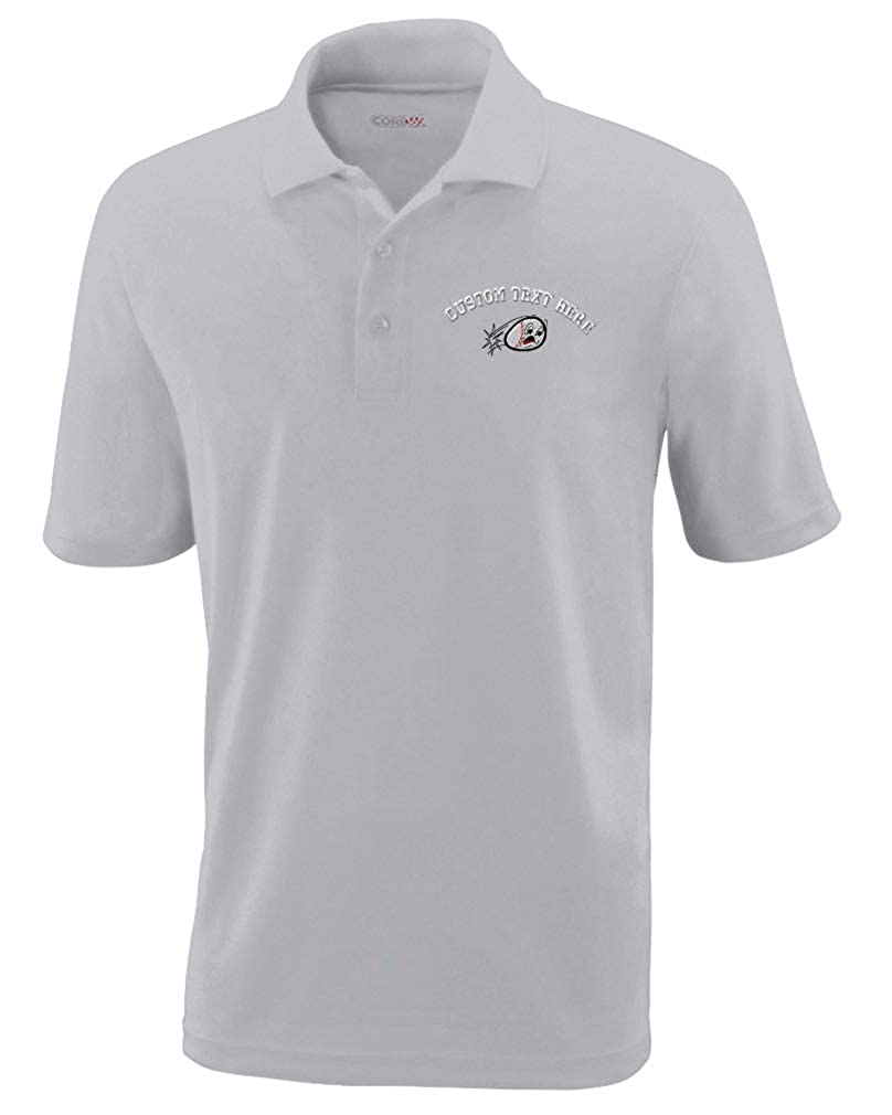 f97d357cd Amazon.com: Custom Text Embroidered Cartoon Baseball Mens Polyester Polo  Golf Shirt: Clothing