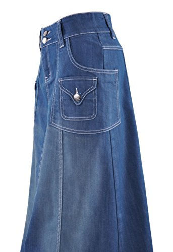 Rock Chic modesto estilo J para mujer denim de largo Azul