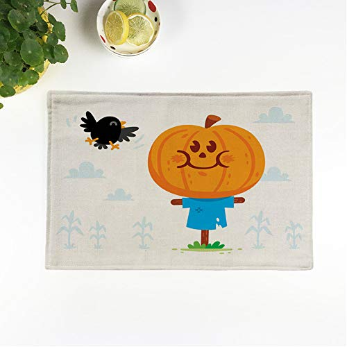 Halloween Sweets Clipart (rouihot Set of 4 Placemats Halloween Clipart! Cute and Sweet Scarecrow with a Pumpkin Head Have a Crow Friend 12.5x17 Inch Non-Slip Washable Place Mats for Dinner Parties Decor Kitchen)