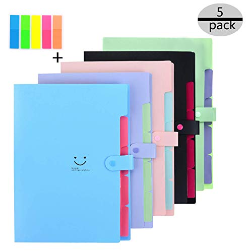 Tissir 5ps Expanding File Folders Accordion Document Organizer with 5-Pocket Plastice A4 Letter Size And 100pcs Color File Folder Labels, PP Organizer Expandable File Folder for School and Office Use