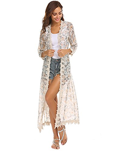 - Womens Floral Print Loose Puff Sleeve Kimono Cardigan Lace Patchwork Chiffon Cover up Blouse Beige M