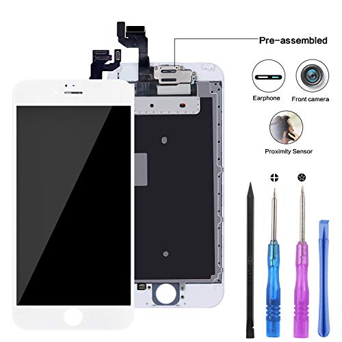 YPLANG Compatible for iPhone Screen Replacement, LCD Display Digitizer Frame Assembly Full Repair Kit with Repair Tools (iPhone 6S White-Part)