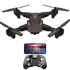 Drone REDPAWZ VISUO XS809S WiFi Foldable Kids Children Gift Wide-Angle 720P HD Camera RC Quadcopter- Altitude Hold, One Key Take-Off/Landing, 3D Flip, 20 Minutes Flight Time (Black, 200W +Wide Angle)