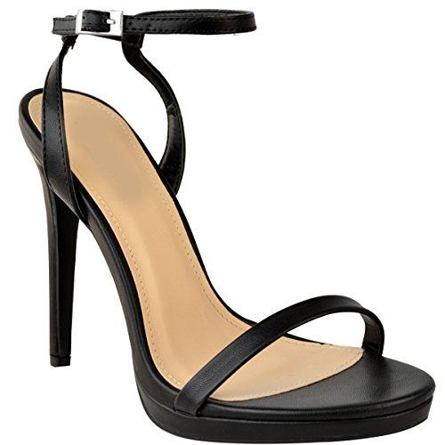 Fashion Thirsty Heelberry® Womens Ladies Stiletto High Heels Sandals Barely There Party Platform Shoes Size Black Faux Leather B4IA2