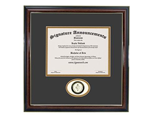 (Signature Announcements West-Virginia-State-University Undergraduate, Professional/Doctor Sculpted Foil Seal Graduation Diploma Frame 16
