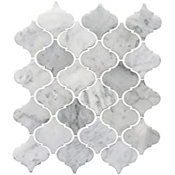 LI DECOR Italian Bianco Carrara White Marble Arabesque Lantern Mosaic Tile Wall Floor Decorative Bathroom Kitchen Backsplash Tiles (3.27sf,4Pack Per Case), Polished